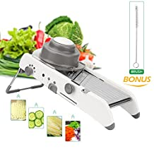 Mandoline Slicer Uvistare All-in-1Multi Slicers/Juliennes/Waffles with Large Palm Size and Food Holder for Vegetable, Potato, Tomato, Cucumber, Cheese, Lemon