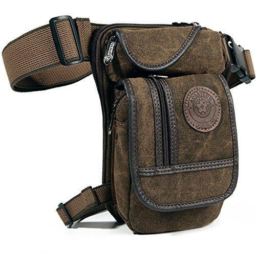 Men's Canvas Hip Belt Bum Fanny Pack Waist Thigh Leg Drop Bag Tactical Military Riding Motorcycle Outdoor Bike Cycling Multi-purpose Messenger Shoulder Bag by D&B Sport