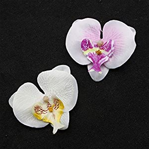 JETEHO 20Pcs Artificial Flower Head 8cm Real Touch Silk Butterfly Orchid Head for DIY Wedding Home Decoration Party Festival Decor (White&Purple) 119
