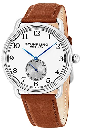 Stuhrling Original Men's 'Classic' Swiss Quartz Stainless Steel and Leather Casual Watch, Color:Brown (Model: 207.01) - Numbers Brown Leather Band