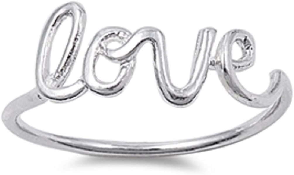 Adena's Jewelry Box New Sterling Silver .925 Womens Love Script Ring Band Sizes 4-10
