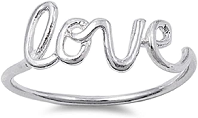 CloseoutWarehouse Sterling Silver Love in Script Ring Silver Color Options, Sizes 2-15