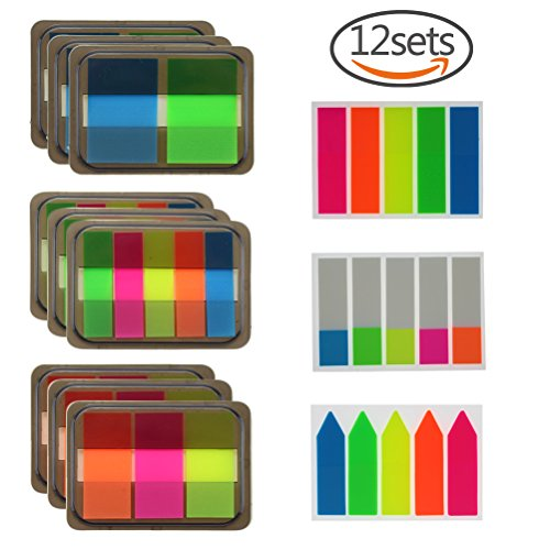 Cheap 12 Sets Page Markers Page Index Tabs, Translucent Sticky Notes, 900 Pieces, Assorted Colors for sale