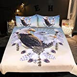 Sleepwish Eagle Dreamcatcher Bedding Set 3 Eagles Bedding Birds Dream Catcher Feathers Native American Duvet Cover (Twin)