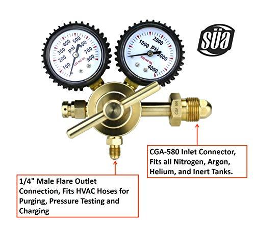 SÜA - Nitrogen Gas Regulator 0-600 PSIG - HVAC Purging - Pressure Charge - 1/4'' Flare Connector by SÜA (Image #1)