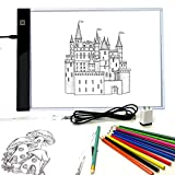 Pinwheel Crafts Light Up Tracing Pad, Super Thin Pad with Ultra Bright LED Light for Tracing, Mix and Match Fairy Tale Designs, Includes 12 Colored Pencils and 10 Blank Sheets, Coloring Board for Kids