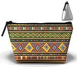 Ethnic Africa Art Colorful Pattern Cute Trip Toiletry Bag Trapezoidal Zipper Receive Bag Travel Fashion