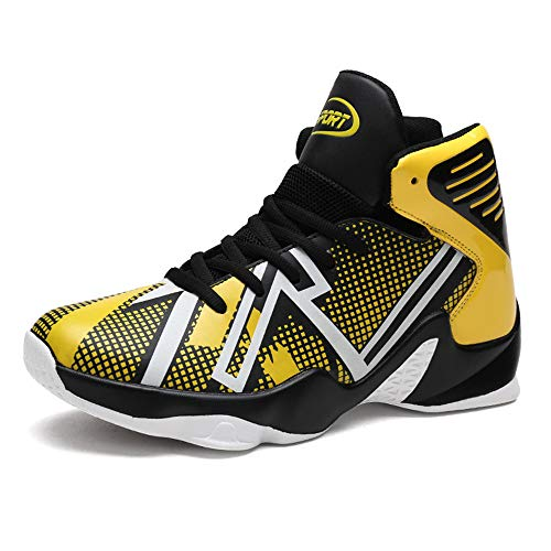 Mens Fashion High-Top Basketball Shoes Breathable Sports Running Sneakers(Yellow-Lable 41/7.5 D(M) US Men)