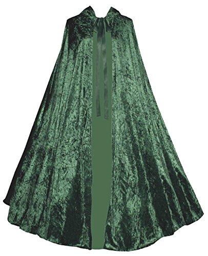 [Victorian Vagabond Gothic Medieval Steampunk Velvet Cape Cloak Forest Green] (Green Medieval Dress)