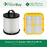 Eureka Pet Lover Plus Filter Kit, includes DCF-21 (DCF21) & HF-10 (HF10). Replaces Part # 67821, 68931, 63347 & 63347-4. Designed by FilterBuy to fit Eureka Pet Lover Plus Upright Vacuum
