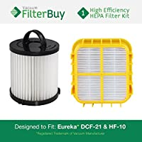 FEureka Pet Lover Plus Filter Kit, includes DCF-21 (DCF21) & HF-10 (HF10). Replaces Part # 67821, 68931, 63347 & 63347-4. Designed by FilterBuy to fit Eureka Pet Lover Plus Upright Vacuum