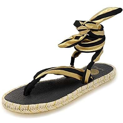 Nalho Women's Yoga Mat Memory Foam Espadrilles Sandals, Karabi Metallic Black/Gold 6
