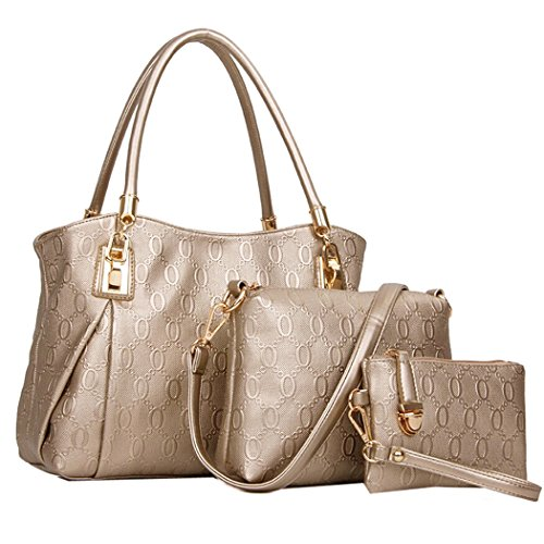 Coofit Moda Mujer Bolsa PU Piel Totes Bag Bolso de Mano 3 Piezas Gold