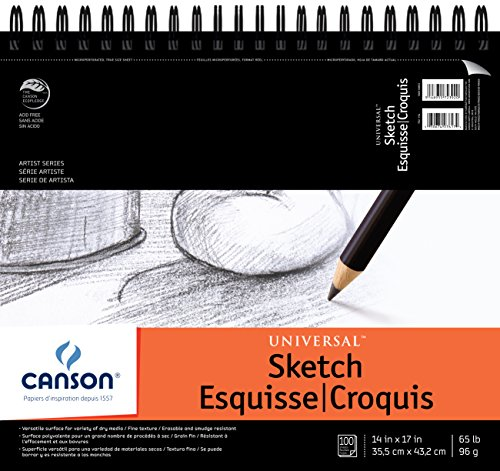Canson Artist Series Universal Paper Sketch Pad, for Pencil and Charcoal, Micro-Perforated, Side Wire Bound, 65 Pound, 14 x 17 Inch, 100 ()
