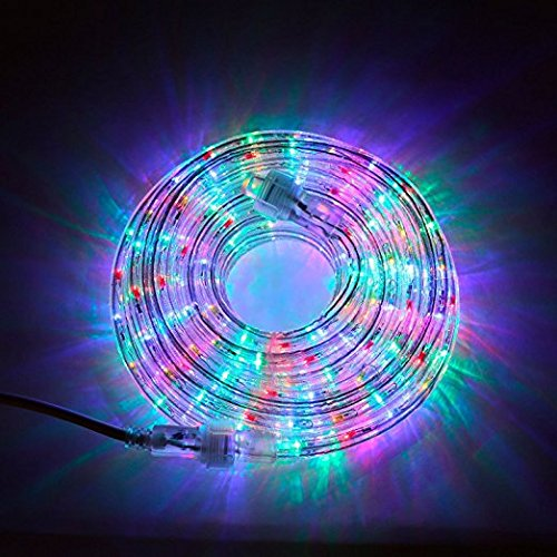 24 Ft. Plugin Rope Lights, 287 Multicolor LEDs, Connectable, Dimmable, Waterproof, Indoor/Outdoor Use, Ideal for Backyards, Weddings and Christmas Decor