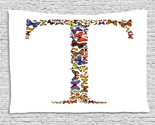 XHFITCLtd Letter T Tapestry, Animal Themed Alphabet Font Pattern Butterflies in Fall Color Scheme Design Print, Wall Hanging for Bedroom Living Room Dorm, 80 W X 60 L Inches, Multicolor by XHFITCLtd