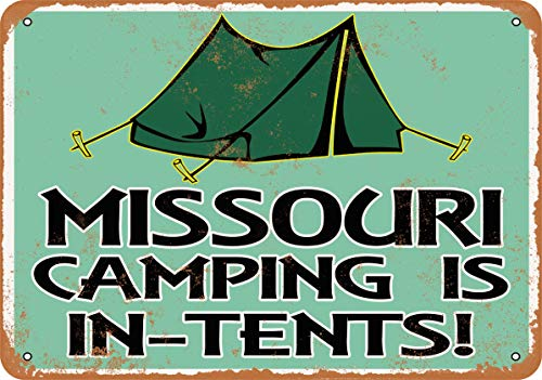 Wall-Color 10 x 14 Metal Sign - Missouri Camping is in-Tents - Vintage Look