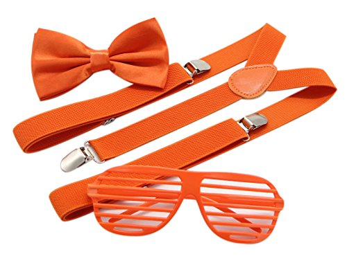 JAIFEI Plastic Shutter Shades Glasses + Adjustable Suspenders + Bow tie Set For Costume Parties Props - Mens Glasses 1920s