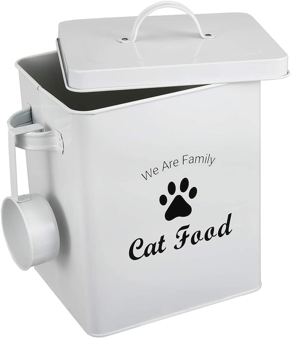 Morezi Dog Cat Treat and Food Storage Tin with Lid and Scoop Included - White Powder-Coated Carbon Steel - Rubber Seal Lids Safety - Storage Canister Tins - Cat Food
