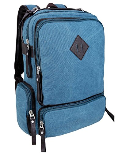 Leaper Lightweight Canvas Backpack Laptop School Bag Travel Daypack (Sky Blue)