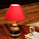 ExclusiveLane Terracotta Floral Hand-Painted Study Table Decorative Bedroom Table Lamp (Red)