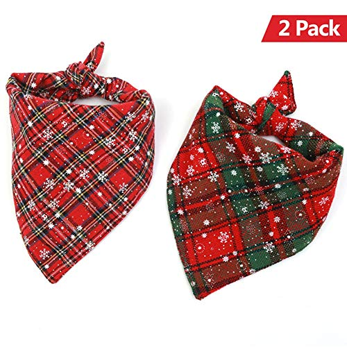AOFITEE Christmas Dog Bandana Cute Plaid Snowflake Pattern Pet Triangle Bids Scarf, Winter Puppy Cat Cotton Kerchief, Funny Holiday Costume Accessories 2 -