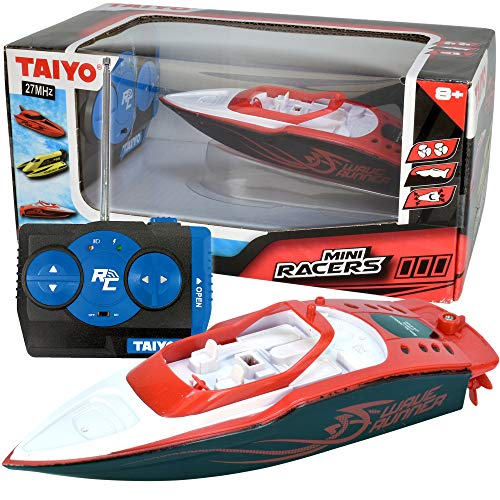 Wave Runner - Mini RC Remote Control Boat, 1:40 Scale with Handset Quick Charger for Tub, Lake, Pond, or Ocean, High Speed, Fast Hobby Action for Kids and Adults, Red Speedboat, Ages 6+