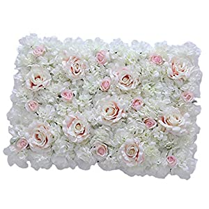 Flameer 40X60cm Artificial Silk Plastic Rose Flower Panel Wall Decoration Decorative Grass Turf Wedding Venue Backdrop Decor 21