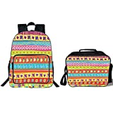 19' School Backpack & Lunch Bag Bundle,Doodle,Various Doodles with Lines Separating Them Mushrooms Butterflies Retro Inspired Art Decorative,Multicolor,for Boys Girls