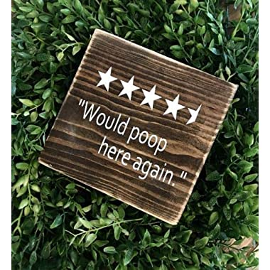 Diuangfoong Farmhouse Bathroom Signs Bathroom Decor Would Poop Here Again Wood Signs