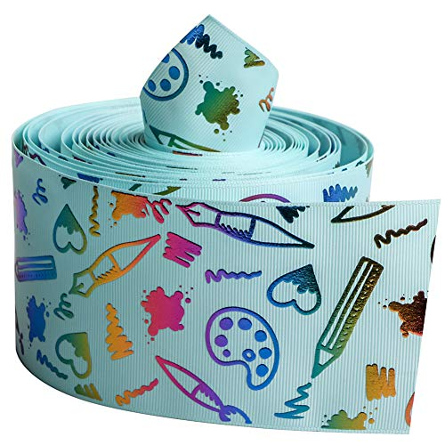 Fun Ribbon - Light Blue Color Series with Kids Drawing Fun Single Face Printed Grosgrain Ribbon 3