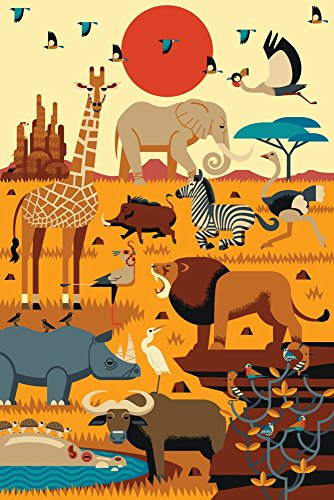 (Savannah Animals - Textured Geometric (36x54 Giclee Gallery Print, Wall Decor Travel Poster))