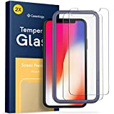 Caseology for iPhone X Screen Protector [Tempered Glass with Guide Frame] - Easy Installation Scratch Resistant Screen Protector for iPhone X Only - 2 Pack