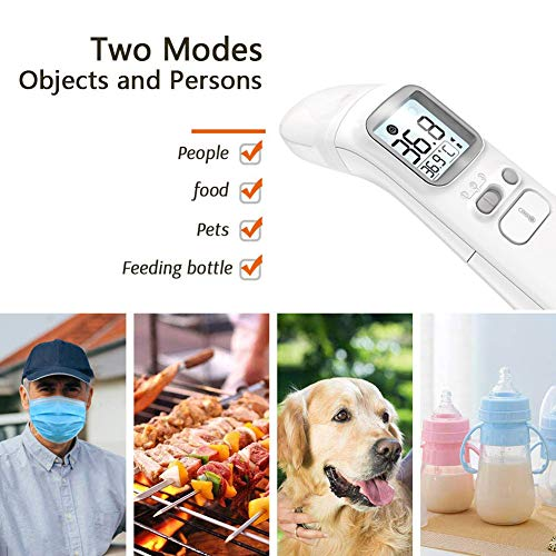 [1028 New Upgrade] Digital Infrared Thermometer | 4-in-1 Forehead Mode, Ear Mode | No-Contact Digital Thermometer for Adult, Child, Baby, Objects | Color Changing Fever Indicator