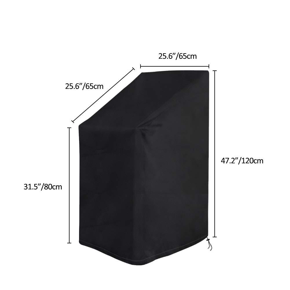 Vzesok Funda para Sillas Apilables Impermeable Funda Protectora para Sillas de Jard/ín 420D Oxford Tejido de Poli/éster Negro 65 x 65 x 80//120cm