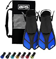BPS Snorkel Fins, Travel Size Swim Fins Open Heel Adjustable Flippers for Swimming Diving Snorkeling - Men Wom