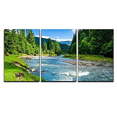 Grand Artistry, Landscape with Mountains Trees and a River in Front x3 Panels, Crafted to Perfection
