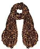 Peach Couture Trendy Women's Leopard Animal Print Crinkle Scarf wrap Brown