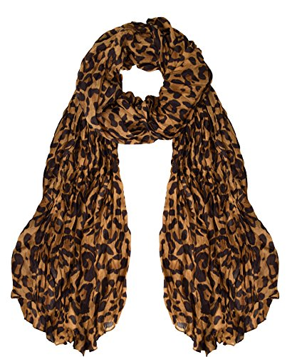 Peach Couture Trendy Women's Leopard Animal Print Crinkle Scarf wrap Brown Crinkled Wash Denim Jeans