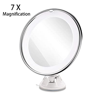 Makeup Mirror.Ruimio Makeup Mirror 7x Magnifying Lighted Makeup Mirror With Suction Base Natural White Led 360 Degree Swivel