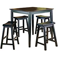 Homelegance 5 Piece Saddleback Dinette Set, Black-sand-thru finish
