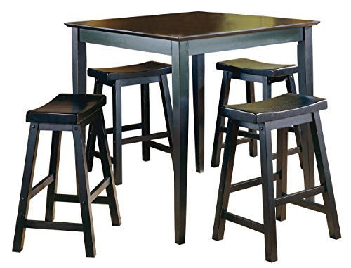Homelegance 5 Piece Saddleback Dinette Set, Black-sand-thru (Homelegance Set Table)