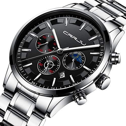 CRRJU Men's Fashion Business Date Window Watches Luxury Stainless Steel Waterproof Quartz Wristwatches