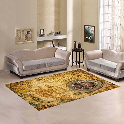 D-Story Floor Decor Vintage Compass Lies On An Ancient World Map Area Rug Carpet Floor Rug 7'x5′ For Living Room Bedroom