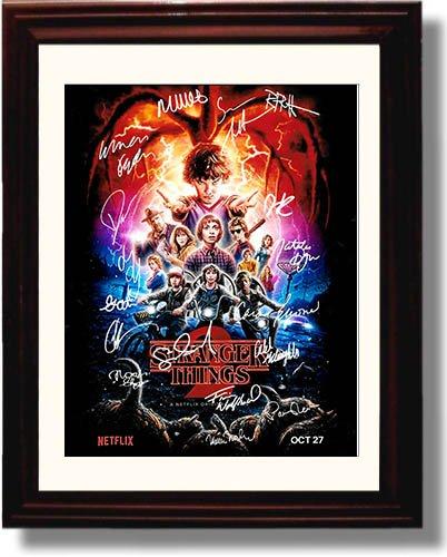 Framed Stranger Things - Full Cast - Season Two Autograph Replica Print