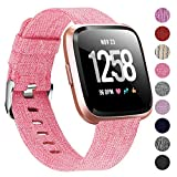 "Welltin Bands Compatible with Fitbit Versa/Fitbit Versa Lite for Women Men (Pink, Small 5.2""-6.7"")"