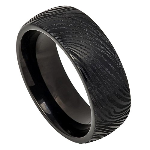 Men's 8mm Semi Dome Edge Wedding Band, Black Ion Plated Mokume Design Laser Engraved Center High Polished Comfort Fit Tungsten Carbide Anniversary Ring (Tungsten Solid Ring Carbide Laser)