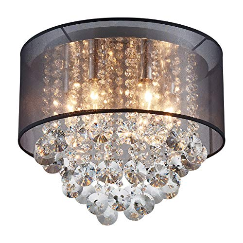 ANJIADENGSHI Modern Drum Cylinder Shape Fabric Shade Chandelier, Crystal Flush Mount Ceiling Light with 6 Lights for Dining Room Bedroom Livingroom Foyer D15.7