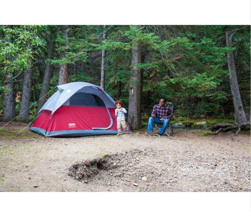 COLEMAN Flatwoods WeatherTec 4 Person Family Camping Tent w/ Rainfly   9′ x 7′