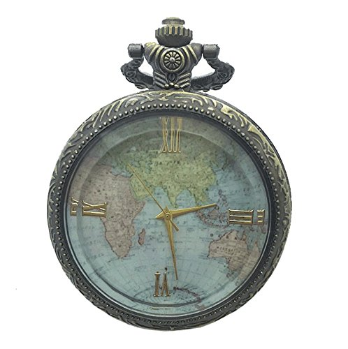 WEIYI Bronze Retro Transparent World Map Pattern Pocket Watch Map pocket watch